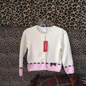 NEW Girls Gymboree Pink/Off White Sweater